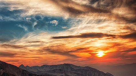 nv sunset mountain sky cloud nature wallpaper