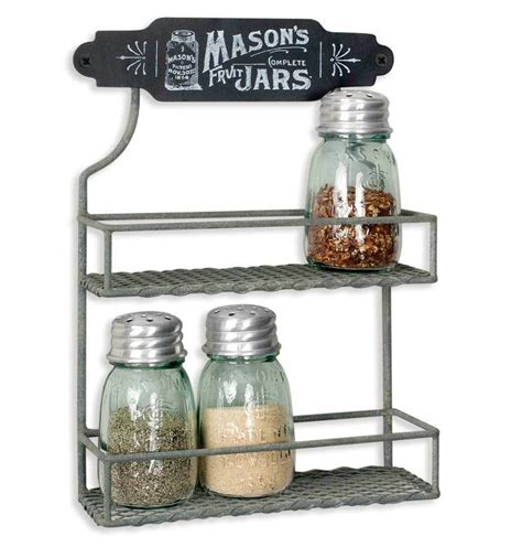 Hanging Spice Rack With Jars by Excellent Rustic Barn Roof Gray Wire Jar Logo Two