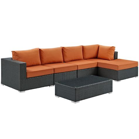sunbrella outdoor sectional modway sojourn 5 outdoor patio sunbrella sectional