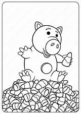 Coloring Disney Pages Halloween Toy Story Hamm sketch template
