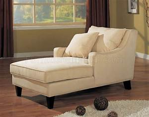 Cream microfiber classic chaise lounge w cappuccino finish for Chaise lounge bedroom furniture