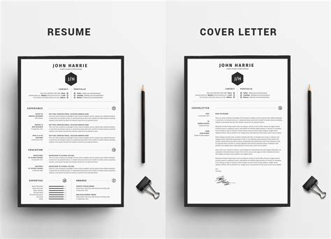 free clean resume cv cover letter template in word psd