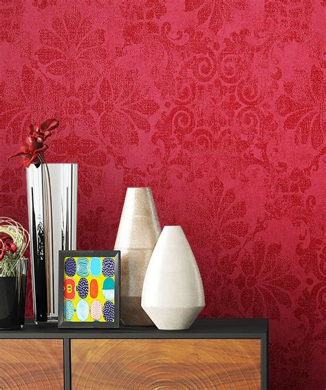 Tapete Rot Muster by Vliestapete Metallic Barock Ornament B 252 Ro Diele