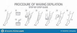 Waxing Leg Instruction  Hair Removal With Wax Guide  Stock