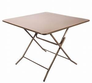 Grande Table Pliante : table de jardin pliante 90x90cm taupe mat 89 salon d 39 t ~ Teatrodelosmanantiales.com Idées de Décoration