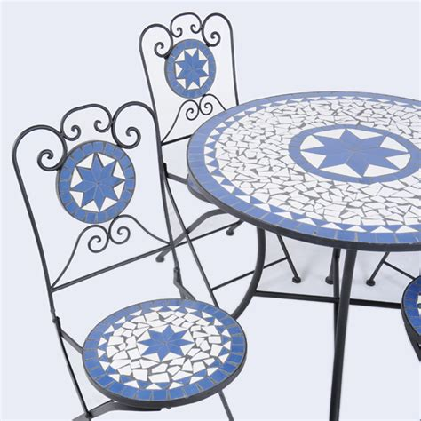 blue mosaic garden table chairs modern patio outdoor