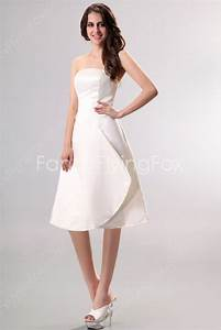 simple strapless a line knee length beach wedding dresses With simple knee length wedding dresses