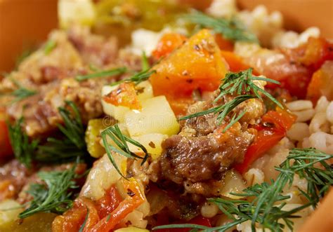 Boiled Pearl Barley With Meat And Vegetable Stock Photo