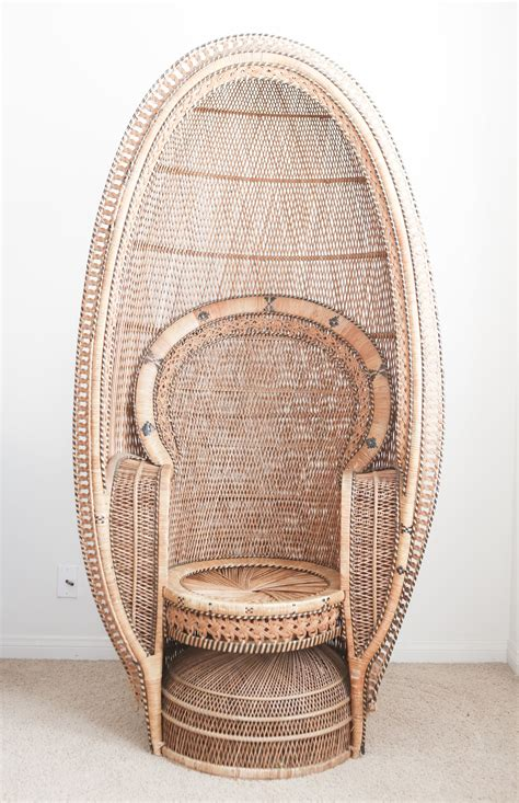 vintage rattan and wicker peacock chair no 698