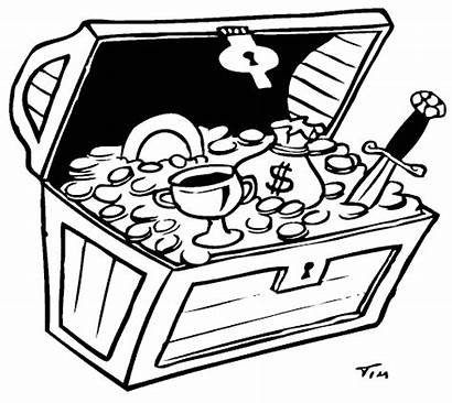 Treasure Chest Coloring Pirate Pages Drawing Clipart