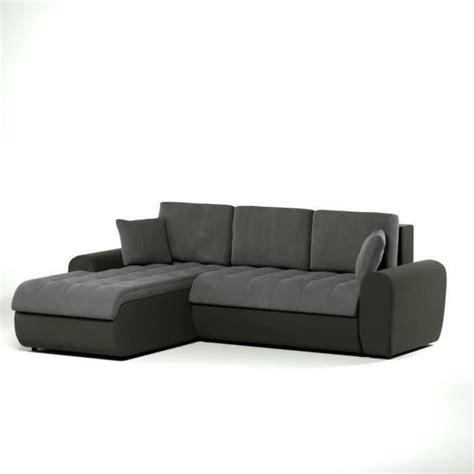 canapé d angle gris et noir cloe canapé d 39 angle gauche convertible en simili et tissu