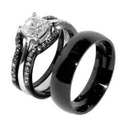 black engagement rings his hers 4 pcs black ip stainless steel wedding ring set mens matching bandamazing jewelry world