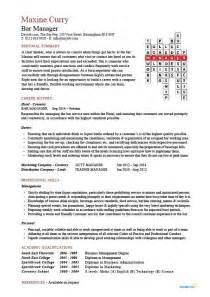 Supervisor Resume Templates Bar Manager Cv Sle Description Assess Pub Performance Resume