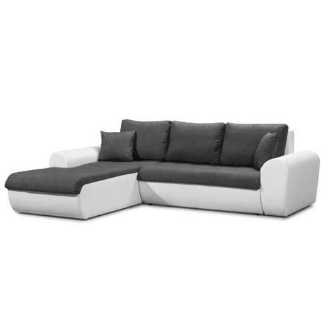 cloe canap 233 d angle gauche convertible en simili et tissu 4 places gris et blanc