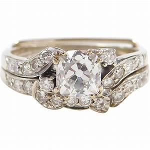 Art deco 141 ctw cushion cut diamond engagement ring with for Cushion cut engagement rings with wedding band