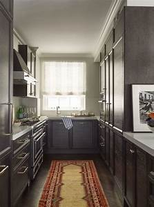 galley kitchen w breakfast bar at right open to eating With what kind of paint to use on kitchen cabinets for hollywood glam wall art