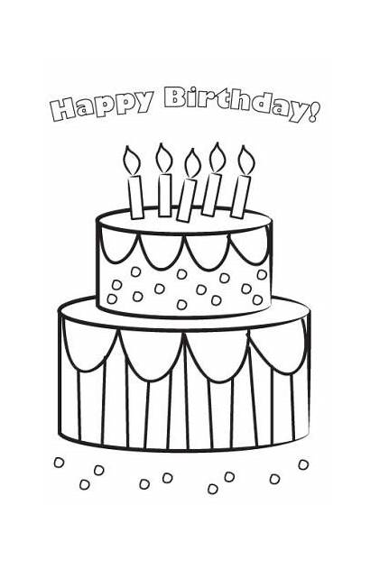 Printable Birthday Cards Card Happy Coloring Cake