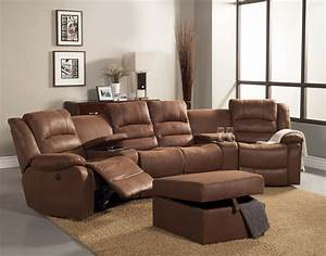 Homelegance tucker sectional sofa set brown bomber for Sectional recliner sofa with cup holders in chocolate microfiber