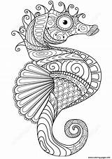 Coloring Horse Zentangle Adults Pages Sea Printable sketch template