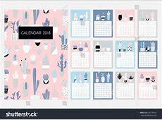 Cute 2018 Calendar monthly printable calendar