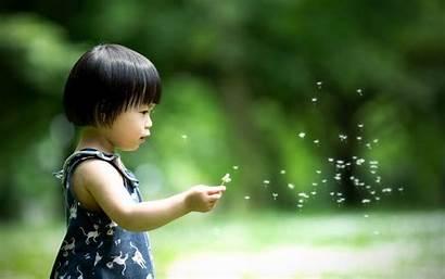 Children Bokeh Straight Blurred Hair Asians Dandelions