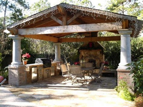 Beautiful Gazebo With Fireplace Ideas Both With Tv Unit