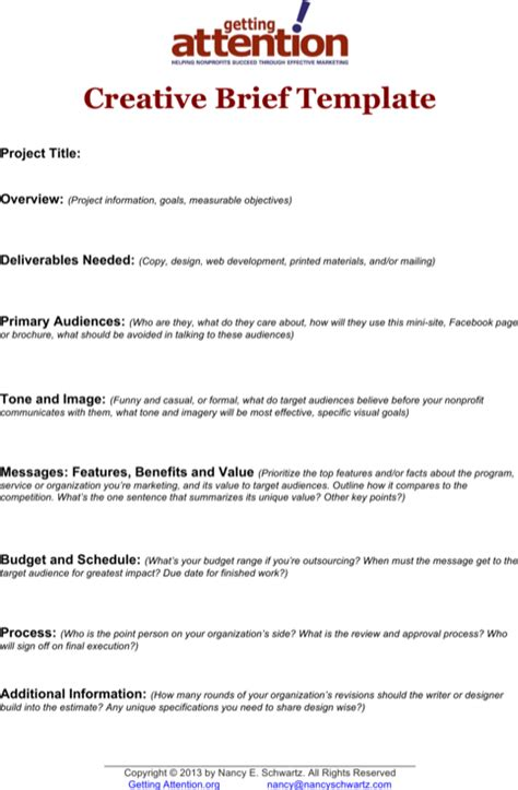 creative brief template sle marketing brief templates for free formtemplate