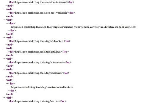Beispiel Einer Xml Sitemap Der Rohansicht Seo