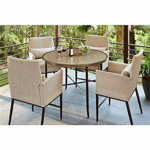 hampton bay aria 5 piece patio high dining set fcs80223st With home depot high top patio furniture