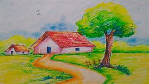 Landscape in Oil pastel//Easy Drawing For Kids - YouTube