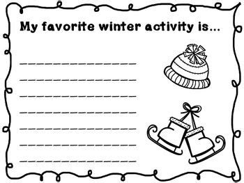 winter writing prompts k 2 activities writing prompts