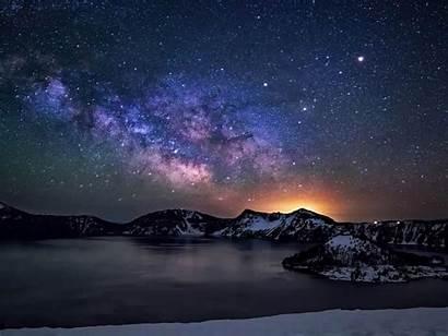Sky Desktop Night Star Lake Crater Milkyway