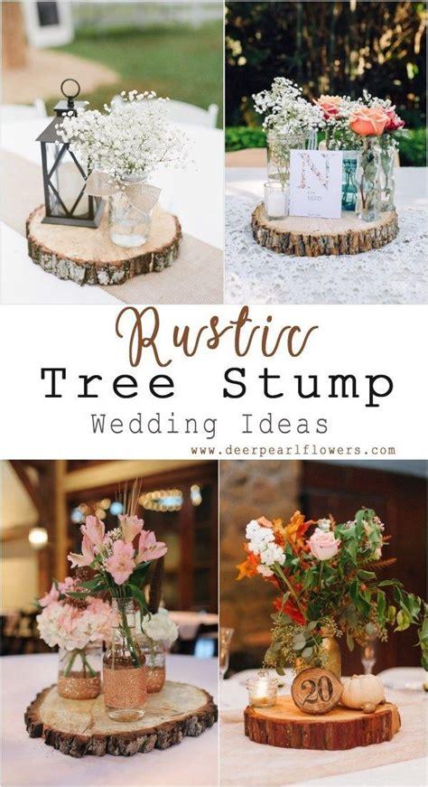 rustic tree stump wedding centerpiece decor ideas #rustic