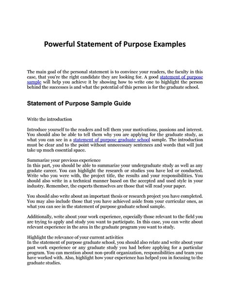 statement  purpose sample  complete guide
