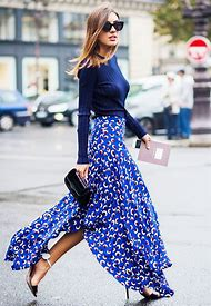 Blue Maxi Skirt with Outfit
