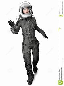 Astronaut Fashion Stand Woman Space Suit Helmet Stock ...