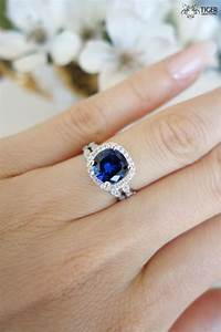 225 carat halo wedding set vintage bridal rings man for Sapphire engagement ring and wedding band set