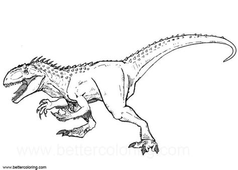 black and white coloring pages indoraptor coloring pages clipart black and white free