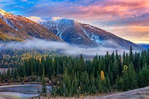 Nature, Landscape, Mountain, Forest, Fall, Sunrise, River