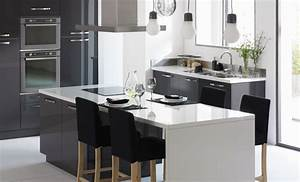 revgercom deco cuisine grise et blanc idee inspirante With idee deco cuisine avec cuisine blanc gris