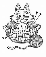 Coloring Yarn Pages Kitten Printable Cat Cartoon Knitting Cats Print Kittens Colouring Kitty Sheknows Printables Wool Ball Kleurplaten Activity Cute sketch template
