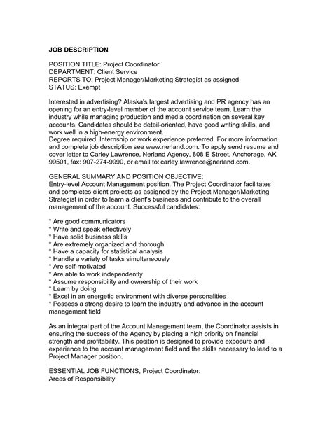 endearing project coordinator resume objective for your