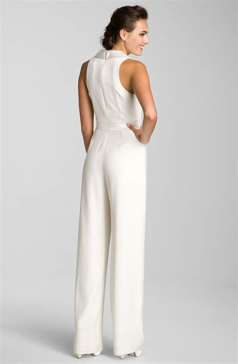 white jumpsuits for theia sleeveless silk jumpsuit in white lyst