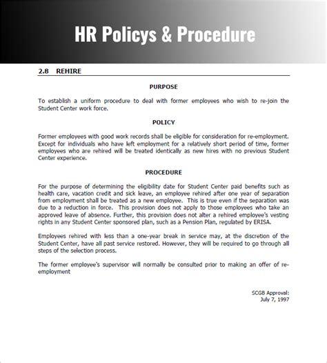 policies  procedures template template business