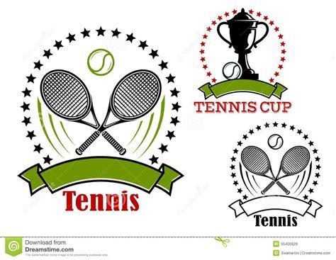 tennis emblems  balls rackets  cup stock vector image