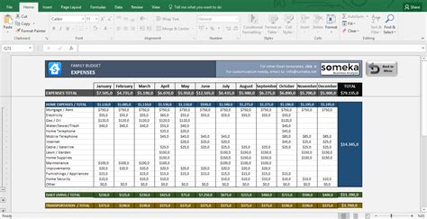 Budget Excel Template Family Budget Excel Budget Template For Household