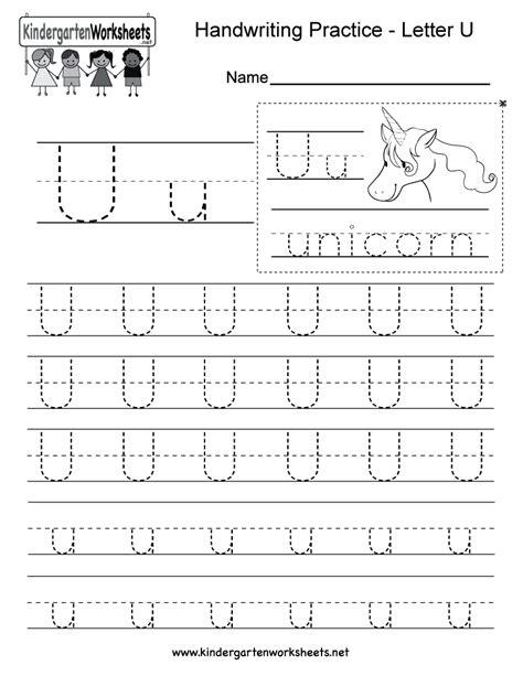 worksheets of letter u letter u handwriting worksheet for kindergarteners this