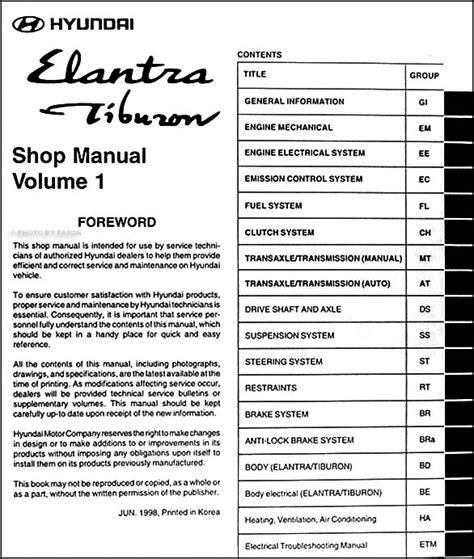 car repair manuals download 1997 hyundai tiburon lane departure warning 1999 hyundai elantra tiburon repair shop manual original