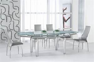serenity ultra contemporary glass and tube dining room With modern glass dining room tables