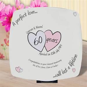 diamond wedding anniversary 60 years personalised plate by With 60 year wedding anniversary